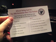 Manhattan Short Film Fest Ballot
