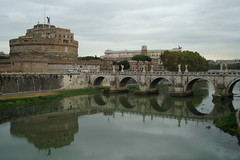 River view (cdfzer) Tags: bridge italy rome reflection castle river mausoleum tiber castel castelsantangelo rivertiber hadriansmausoleum portesantangelo