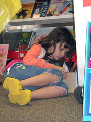 Laurel reading at book fair.