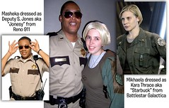 Halloween: Masheka as S. Jones from Reno 911, Mikhaela as Starbuck from Battlestar Galactica