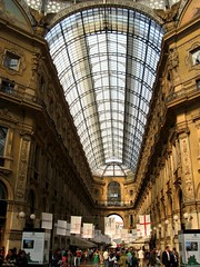 Roof of Glass,Milano Galleria Interior, Italy (moonjazz) Tags: above roof light people italy milan building art history glass up architecture mall shopping wonder design hall big high amazing europe italia commerce arch interior milano space arcade panes landmark best castiron huge opaque romantic panels bella curve awe decor inspire luxury crowds galleria wander masterpiece glazed decorated vast gallaria mywinners