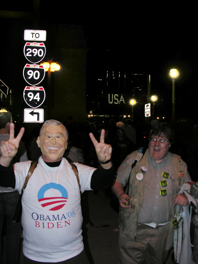 Grant Park scene during Obama acceptance speech