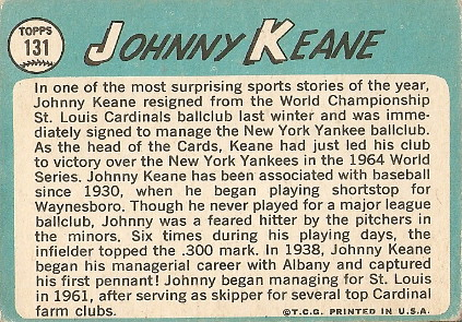 Johnny Keane (back) by you.