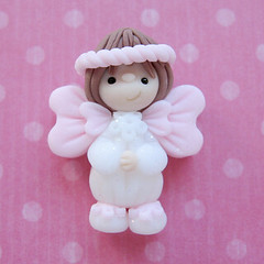 Light Pink Angel (designs by who) Tags: christmas holiday by beads who clay childrens designs polymer focal