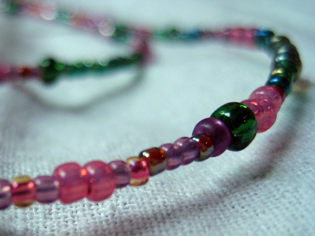 Pink and Green beaded glass lanyard
