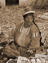 Uros Island (Madzior & Markus) Tags: portrait holiday peru uros titicaca southamerica inca sepia womens adventure travelerphotos tourismtraditions
