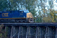 Dark Future On The Bridge (Paul L. Nettles) Tags: wood railroad bridge train wooden diesel engine rail trains trellis rails locomotive woodenbridge railfan ironhorse trainbridge darkblue csx dieselengine trainspotter railroading foamer csxt railspotter railhead es44dc gevo primemover darkfuture greentech steelrails steelrail trainfan trainfanning bluelivery csx5484 csx5206