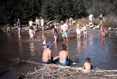 gm_12804 Beach at Dome Creek, BC 1989 (CanadaGood) Tags: blue people canada color colour green analog creek person friend bc britishcolumbia slidefilm 1989 eighties seattlefilmworks domecreek canadagood slidecube