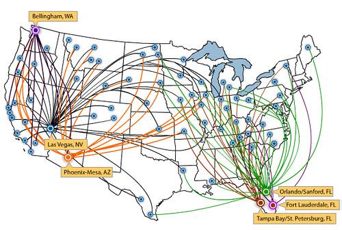 Allegiant route map