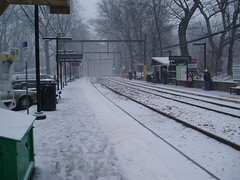 Longwood Station in the snow, 12/19/08 2:30 pm