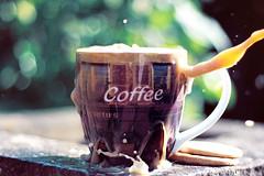 drop it like it's hot (fakeyouth) Tags: water kitchen coffee digital print 50mm purple action mug biscuits splash