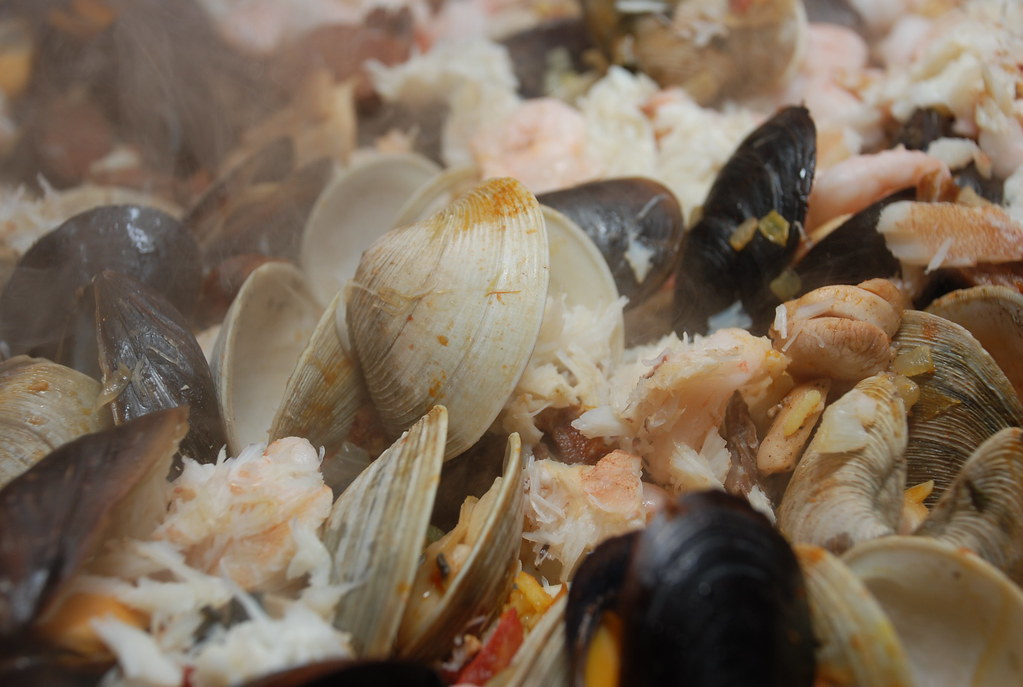 clams and mussels opened