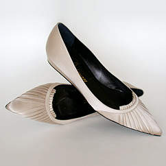 Flat Wedding Shoes pleated style