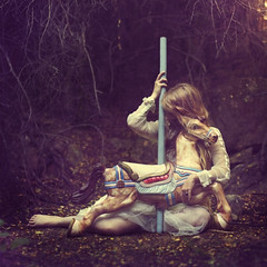 playground for spirits (brookeshaden) Tags: horse girl beautiful fairytale forest woods surreal carousel imagination lovely conceptual magical whimsical fineartphotography carouselhorse brookeshaden texturebylesbrumes
