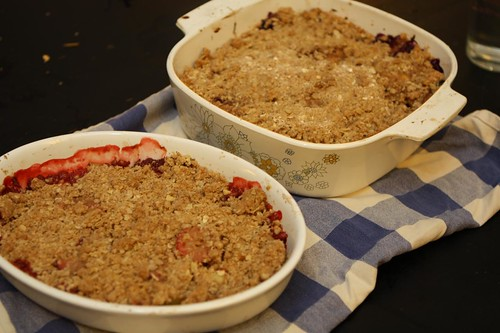 Peach and Blueberry Crisp and Vegan Strawberry Rhubarb Crisp