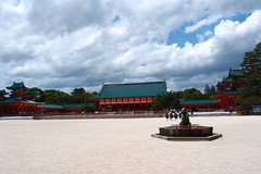 Big garden with white sand (kmmanaka) Tags: japan kyoto torii heianjingu votivepicture shurine paperfortunes