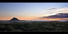 Sunset at mountain Keilir - Iceland (Arnar Bergur) Tags: ocean blue sunset sea orange sun mountain clouds canon gold iceland glacier 5d arnar 1740 keilir snfellsjkul sogin visipix