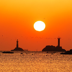 Sunrise in the Dadaepo (rayhue) Tags: sea sun lighthouse water birds sunrise gold nikon korea busan dadaepo littlestories 70200vr d2xs mywinners superbmasterpiece picswithsoul