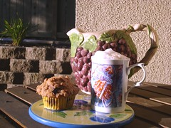 Blueberry muffin and latte (DeliciousDelights) Tags: coffee cake breakfast blueberry muffin latte