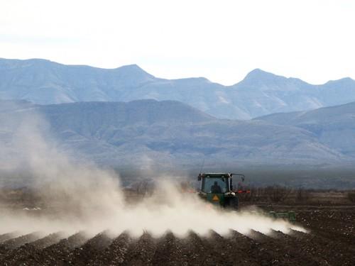 Cotton field preparations near Fort Hancock, Texas, USA