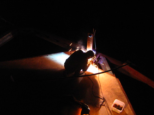 Welding the bridge at night