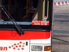 Lothian Bus, in Edinburgh, advertising single ticket price rise