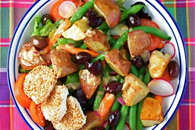 salad with spiced goat cheese rounds
