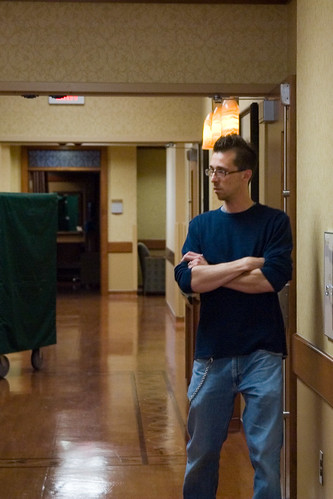 Tim waiting outside the operating room