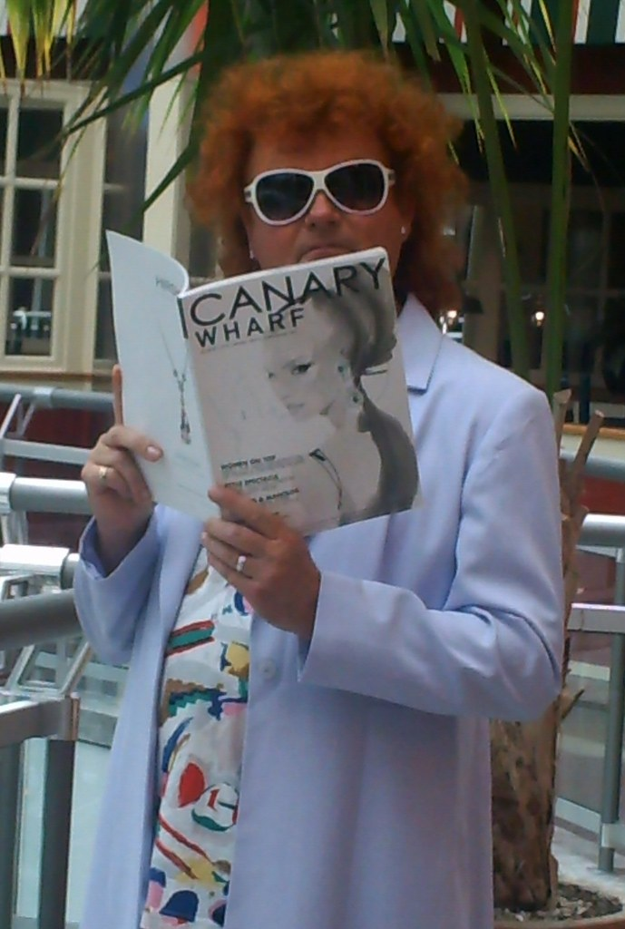 Reading Canary Wharf magazine at Canary Wharf!