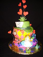 Alice in Wonderland cake - front view (FairyDustCakes) Tags: cake cat cheshire tea alice pots cups mad wonderland hatter
