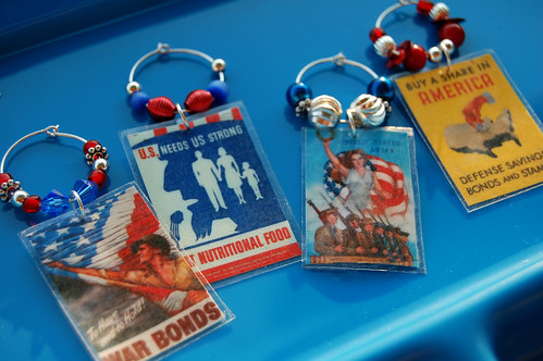 patriotic wine glass charms
