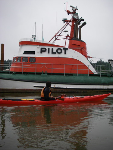 kayak and pilot boat