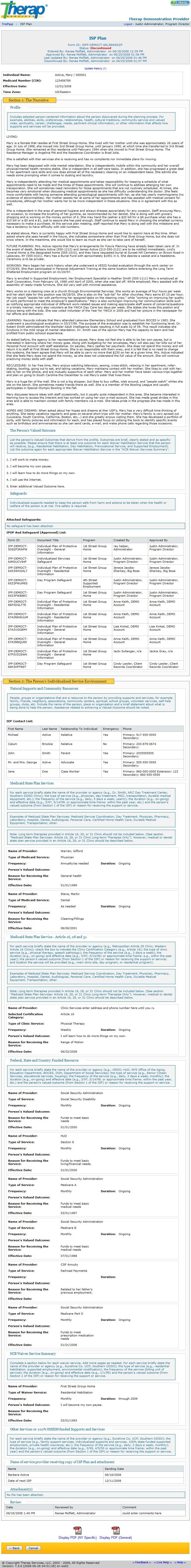 Screenshot of ISP Plan Page showing different sections