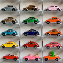 what vw bug color do you like? (hsalnat) Tags: vw vintage bug volkswagen toy singapore beetle sq volkswagenbeetle madeinjapan tomica japanesetoys diecastcars