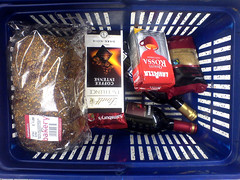 a good basketful - I Ate This pool. (Lenny Montana) Tags: food coffee bread wine supermarket vino tinto basketiatethis