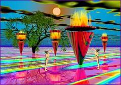 * ...One DREAM...! * (MONKEY50) Tags: bryce orange yellow green red fantasy digital color colors colour colours blue art poser colourartaward flickraward paintshoppro exoticimage awardtree artdigital contactgroups