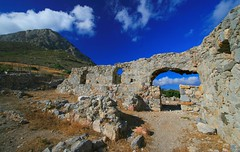 Ruins, Telendos island (Marite2007) Tags: travel sky mountain history nature colors stone landscape outdoors greek islands countryside ruins scenery colours earth space scenic greece monastery land destination daytime remains dodecanese telendos telendhos