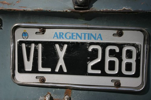 Licence plate, Argentina