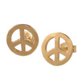 Cute peace sign earrings, in 14k yellow gold by Zoe Chicco.