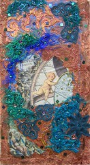 Angel at work (Karen Cattoire) Tags: original art texture collage angel beads acrylic handmade lace originalart silk creation fabric fiberart beading fibers acrylicpaint textileart tissu abstrait textiledart karencattoire fibretextile arttexilte