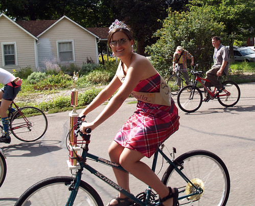 Sarah Palin rides a bicycle