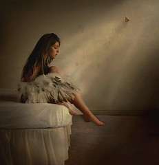 to the light (rosiehardy) Tags: light woman color wall angel butterfly bed toes thought sad room wing explore thinking