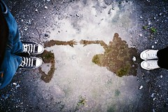 Lomo 03▸12 (ukaaa) Tags: reflection love film feet me water analog 35mm myself puddle lomo lca lomography pond hands shoes girlfriend fuji reaching superia touch negative converse topdown fujifilm pointandshoot reach analogue 135 uka allstar birdseyeview chucktaylor fujicolor superia200 ukaaa
