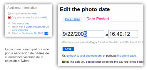 Fotocomposición hiperrealista del proceso de cambio de fechas en fotografias para su reordenación en Flickr