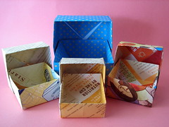 Recycled paper boxes (by glamourfae)