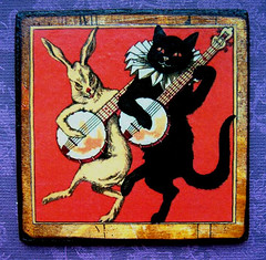 """The Black Cat"" handmade magnet (Jane (on break)) Tags: charity orange pet cats black cute rabbit bunny halloween animal sepia cat blackcat vegan feline jane handmade kitty animalrights craft diamond artnouveau etsy 2008 magnet 08 efa theblackcat banjos catmagnet vintagecat vintageinspired animalcharity antiquestyle artmewvo janediamond catandrabbit artmewvodesigns handmademagnet wfad janediamonddesigns worldfarmanimalsday veganetsy anthroanimals photoandmagnetjanediamond 1800catart cuteanimalart"