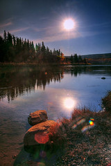None but the brave deserve the flare (Len Langevin) Tags: autumn canada fall river nikon alberta lensflare reddeer d300 goldenphotographer beautifullandscapephotography