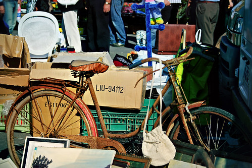 El Rastro. Flea market. Gijón. Asturias. Spain. Rusted bicycle