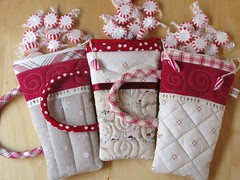 Peppermint Pouches (PatchworkPottery) Tags: christmas hot cup handmade sewing crafts pouch mug zipper quilted patchwork cocoa peppermint zakka wristlet