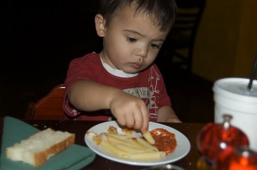 Benji loving noodles